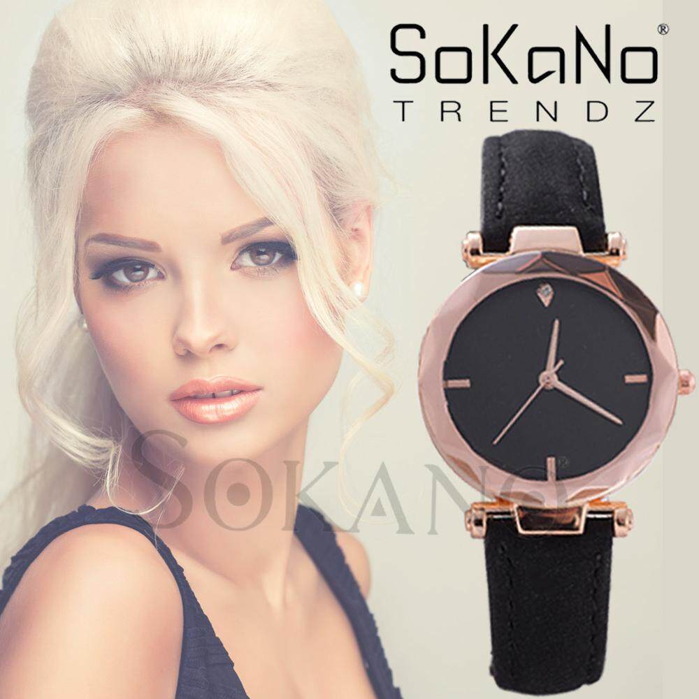 SoKaNo Trendz 1060 Casual Fashion PU Leather Ladies Watch Jam Wanita (Free Watch Box)