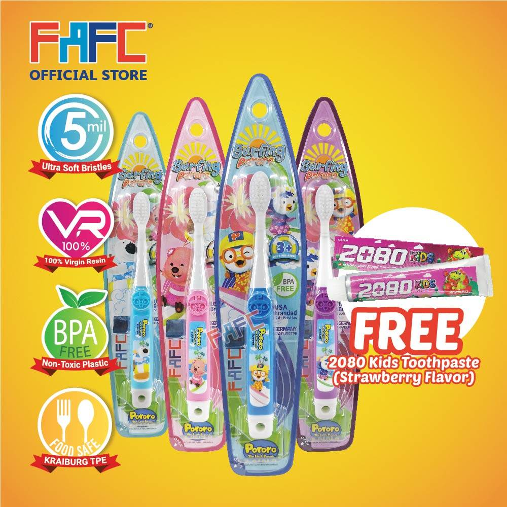 Multicolor - (4 Pcs) FAFC Pororo Hook Kids Toothbrush FREE 2080 Kids Toothpaste (Strawberry Flavor)