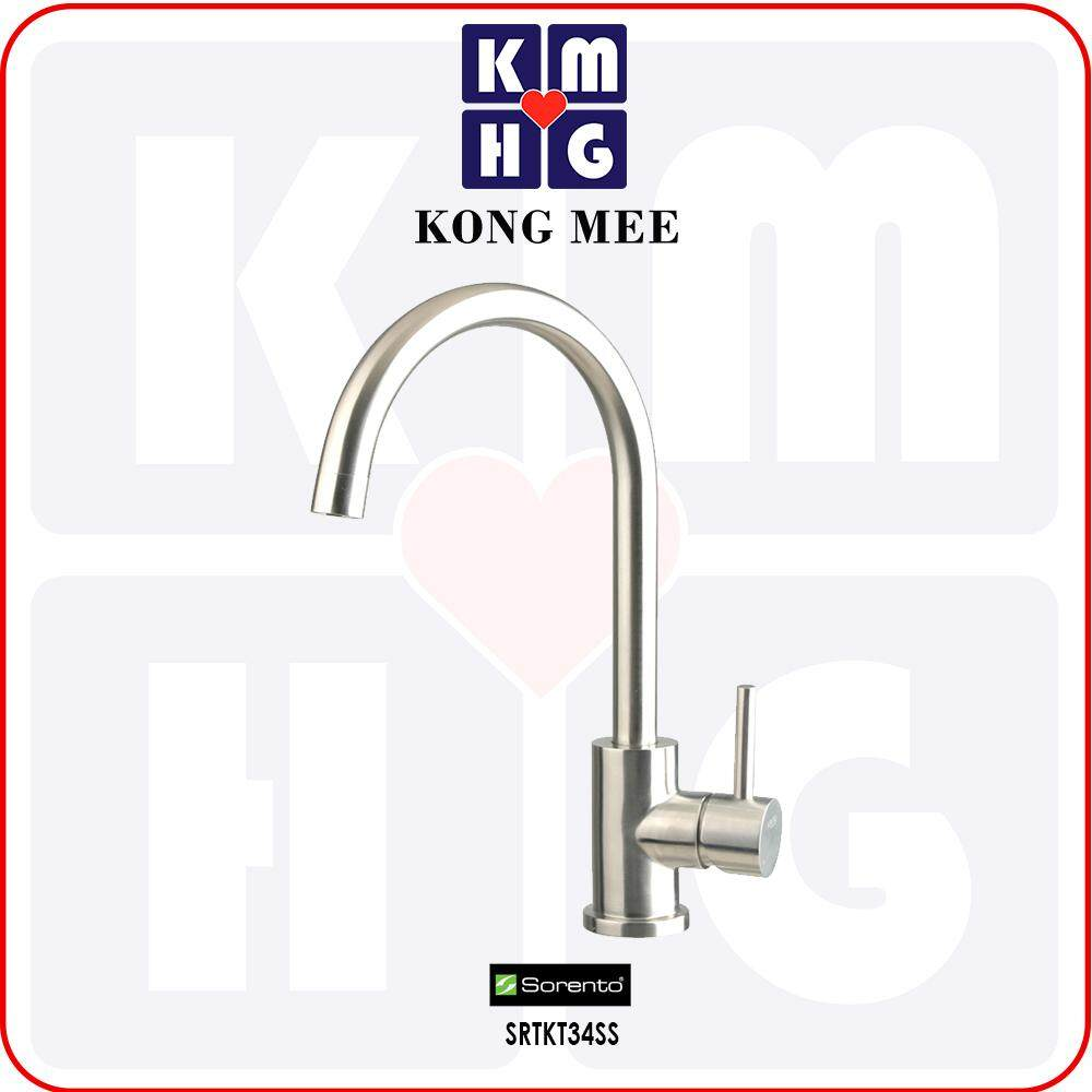 Sorento Italy - Sola Series Stainless Steel 304 Kitchen Cold Tap (SRTKT34SS) Pillar Mounted Cold Water Only Sink Kitchen Top Counter Basin Faucet Aesthetic Modern Luxury Restaurant Home Kitchen Wash Dishes Water Soap Cleaning Pipe Eating Food Cook