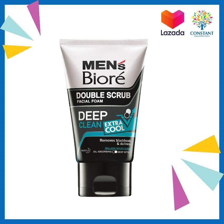 Biore Men Double Scrub Facial Foam Deep Clean Extra Cool 100g