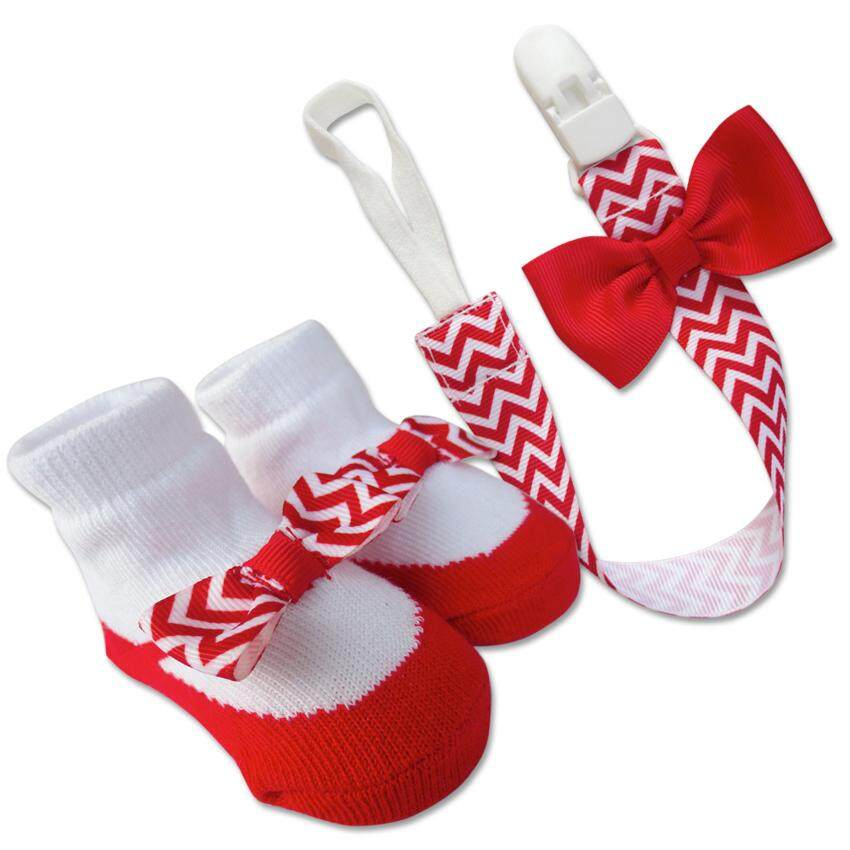 Bumble Bee Baby Pacifier Clip with Socks Set (Red)