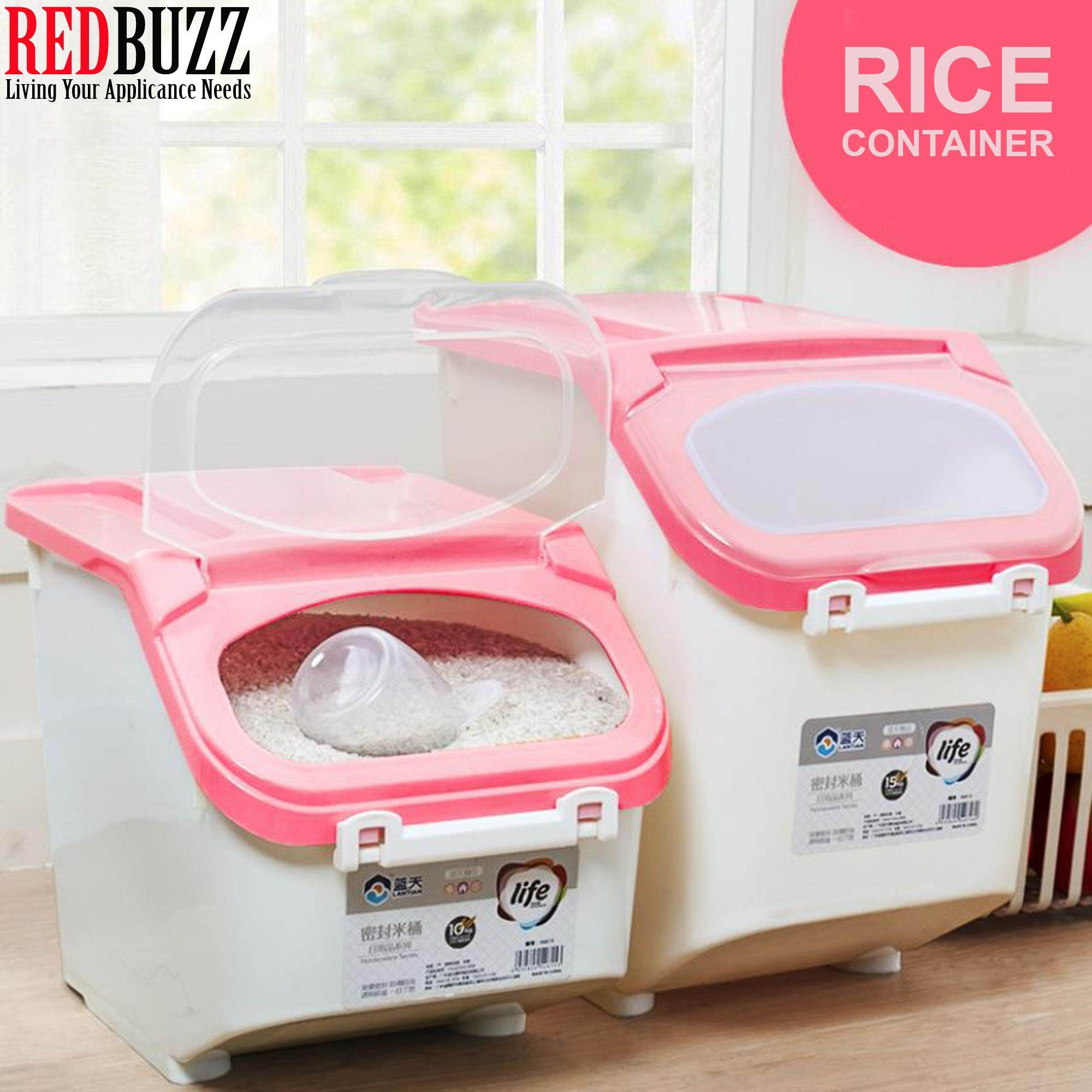 REDBUZZ 10KG/15KG Rice Storage Box / Food Container with Wheels and Stackable Rice Container Bucket