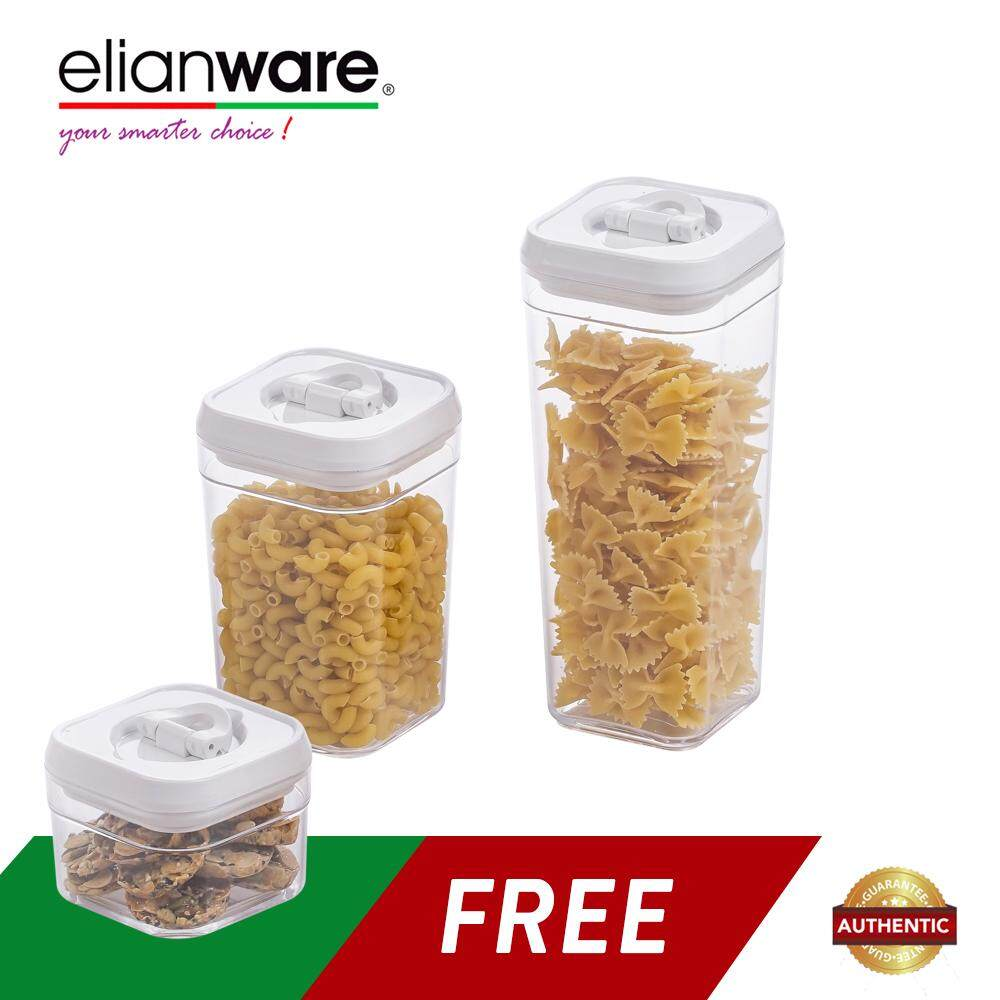 Elianware Lid Lock Airtight Square Canister Food Container Storage Milk (3 Pcs)