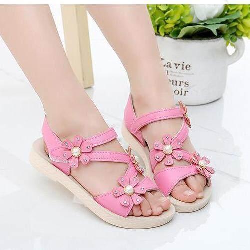 Giá bán Summer Children Sandals Girls Princess Beautiful Flower Shoes Kids Flat Sandals Baby Girls Beach Shoes