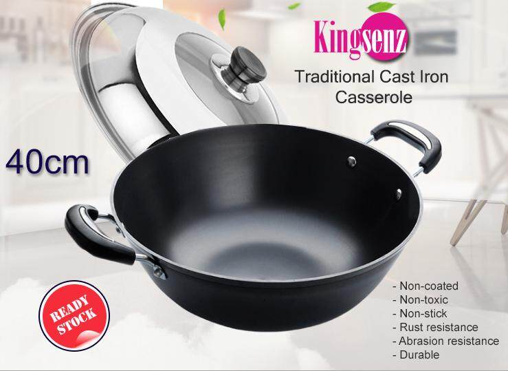 40cm Kingsenz Traditional Cast Iron Casserole - with free stainless-steel spatula and lid (ready stock)