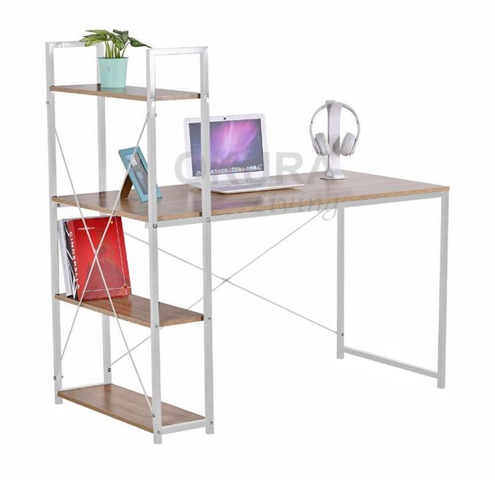 OKURA Modern Computer Laptop Desk Study Table With Book Shelf