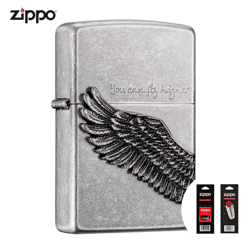 Antique Silver Tattoo YOU CAN FLY HIGHER Zippo Lighter - Free Zippo Flints & Wick