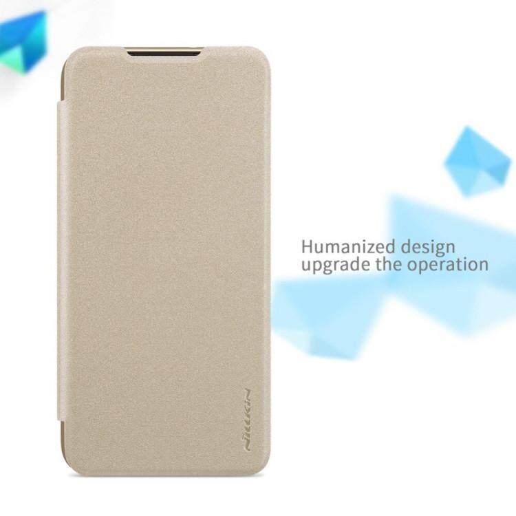Nillkin Leather Case Sparkle Series Super Thin Flip Cover for Xiaomi Redmi Note 8 (Grey/Gold)