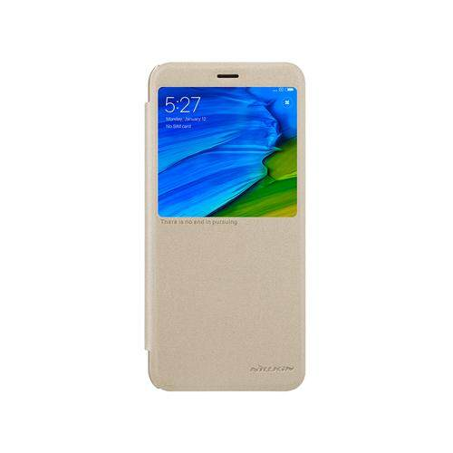 NILLKIN Sparkle Flip Smart Sleep Window PU Leather Case For Xiaomi Redmi Note 5 Pro/Note 5 (Grey/Gold)