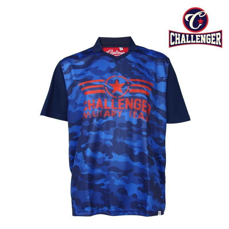CHALLENGER BIG SIZE Collar V-Neck 2 in 1 Airforce T-shirt CH2015 (Navy)