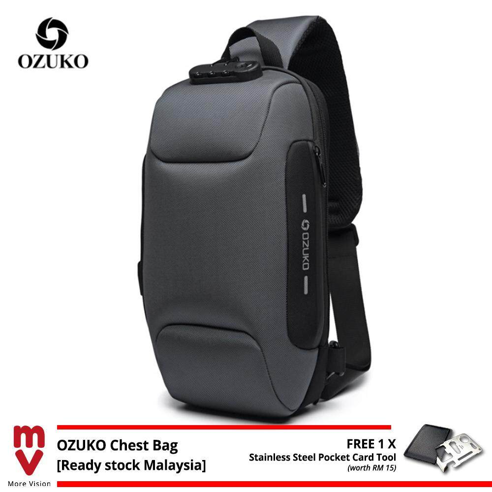 OZUKO Sling Bag USB Anti-Theft Men's Chest Beg with Password Lock New Casual Crossbody Shoulder Waterproof Oxford Cloth MI4992