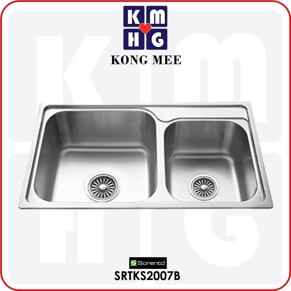 Sorento Italy - Andria Series Double Bowl Top Mount Kitchen Sink (SRTKS2007B) Two Basin Stainless Steel 304 Handmade Low Noise Anti Rust Overmount Drop-in Modern Restaurant Home Kitchen Eating Food Cook Chef Wash Dishes Water Soap Tap Faucet Cleaning Pipe