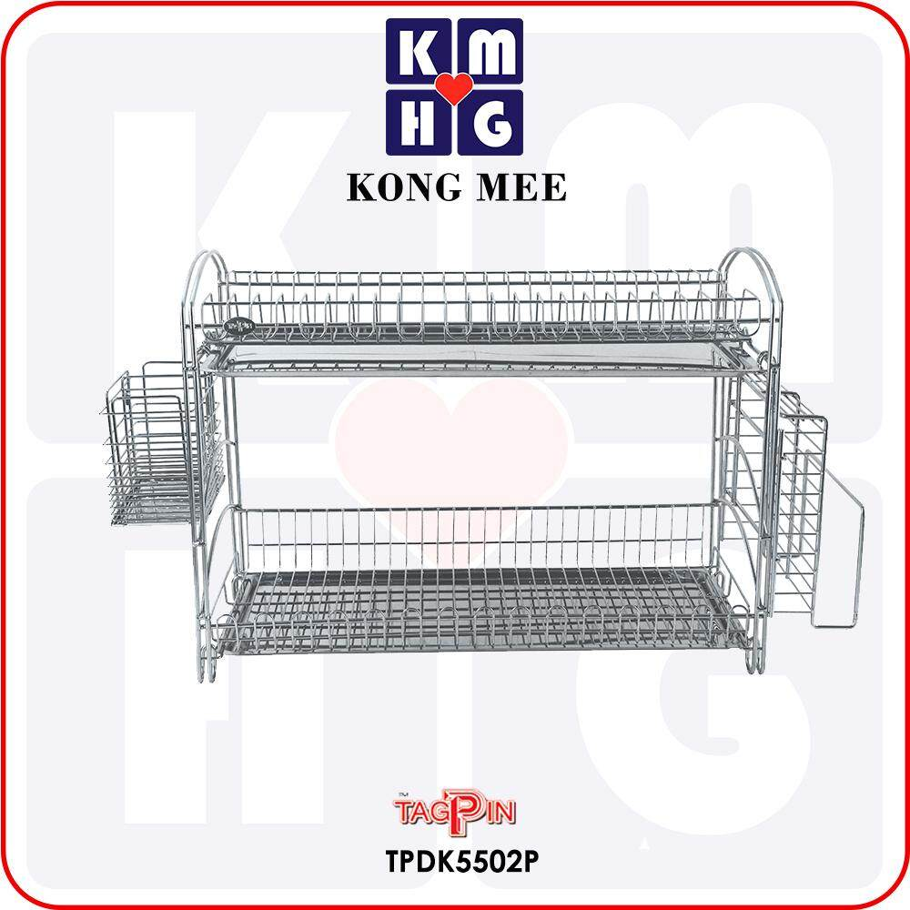 Tagpin - High Quality Stainless Steel 304 Dish Rack with FREE GIFT (TPDK5502-3P)  Premium Drying Dishes Cooking Storage Accessories Dapur Masak Makan Rak Kering Pinggan Kitchen Basin Basket Home Living FIxtures Furniture Cook Chef Wash Dishes Luxury