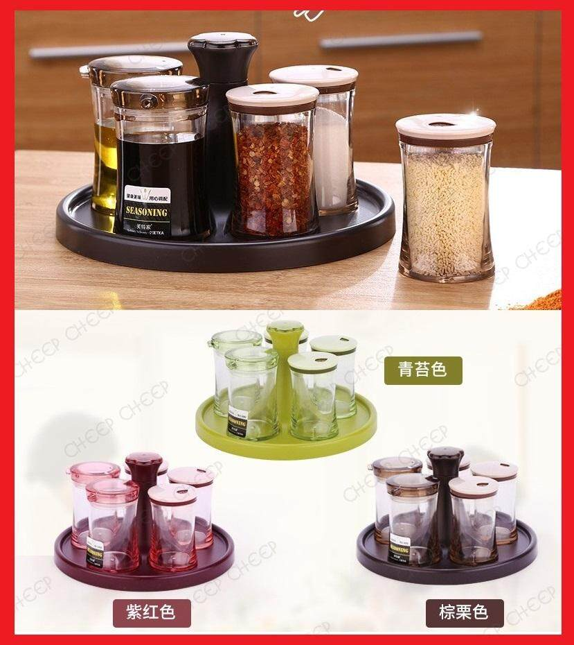 5in1 Elegant Round Cruet Set Transparent Bottle Container Revolving Countertop Kitchen Cooking Dining Seasoning Spice Condiment Sugar Pepper Salt Soy Sauce