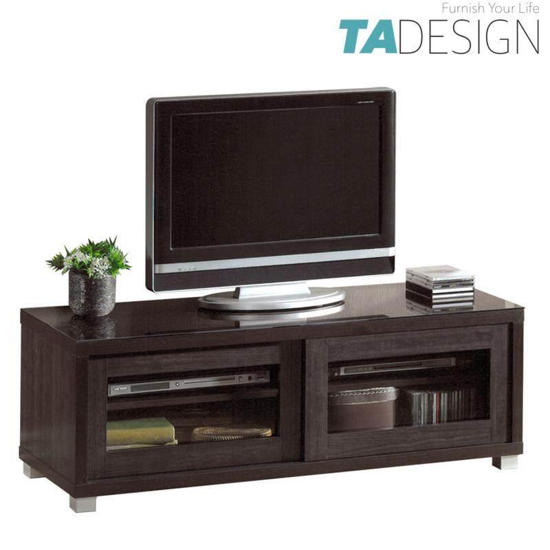 TAD LYNDA 4 feet TV cabinet 4ft with glass door-Wenge
