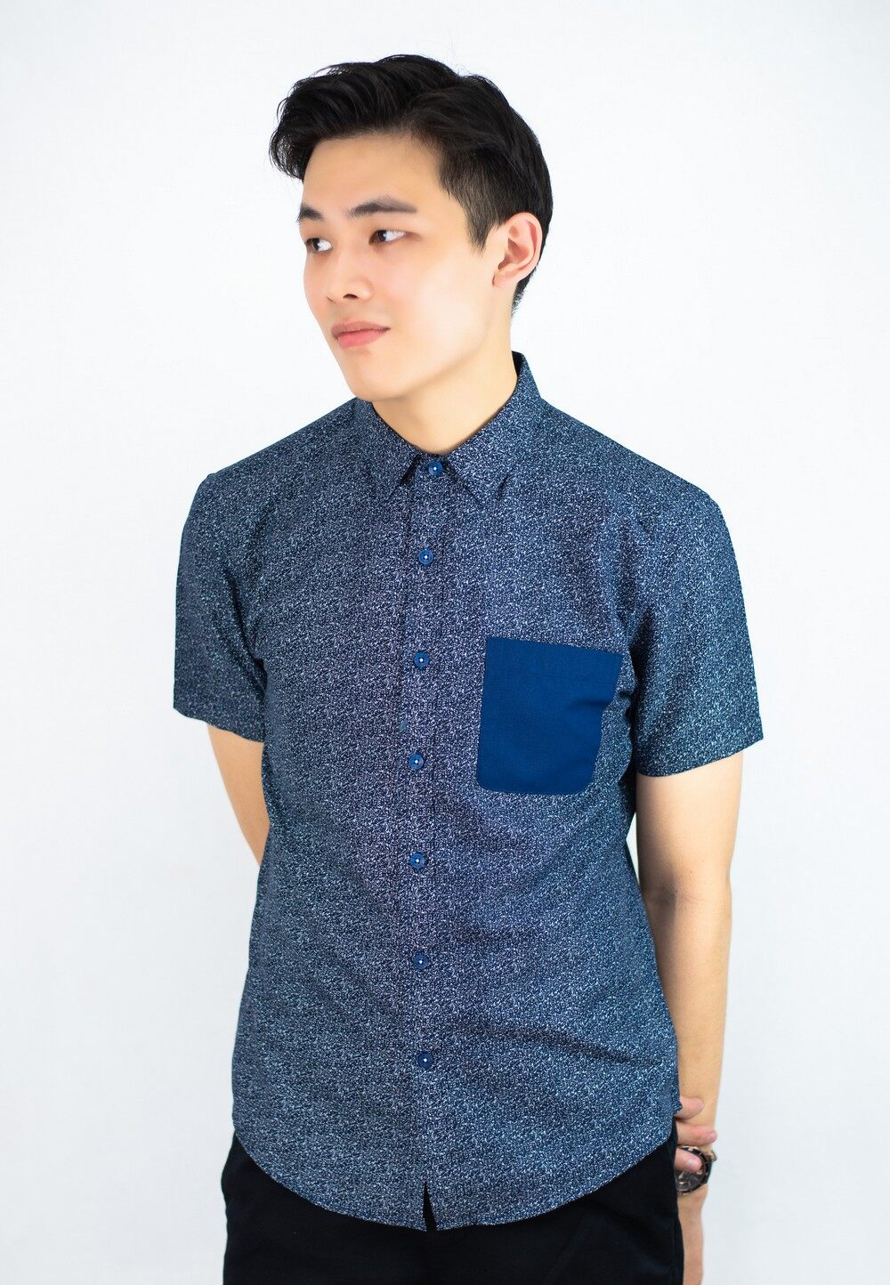 Smart Look Printing Shirt with Contrast Pocket