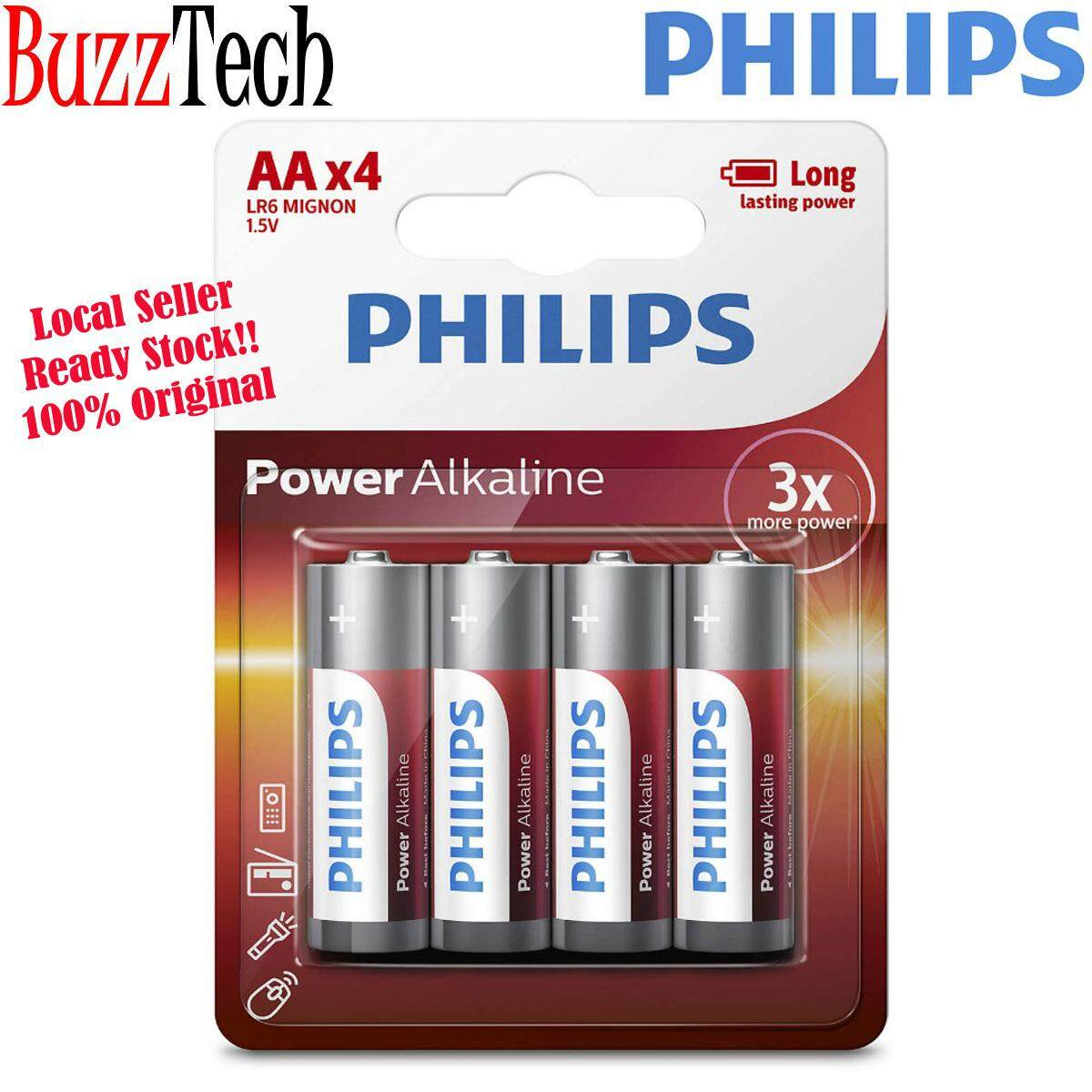 BuzzTech Philips Alkaline Batteries AA / AAA / C / D / 9V Long Lasting Power High Performance Alkaline Battery (Authorised Reseller)