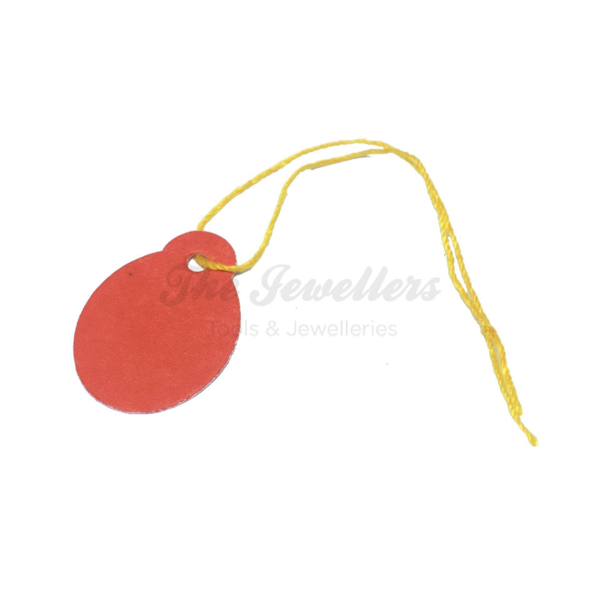 450+-pcs Oval Shape Red Colour Jewellery Price Tag with Thick Yellow Thread
