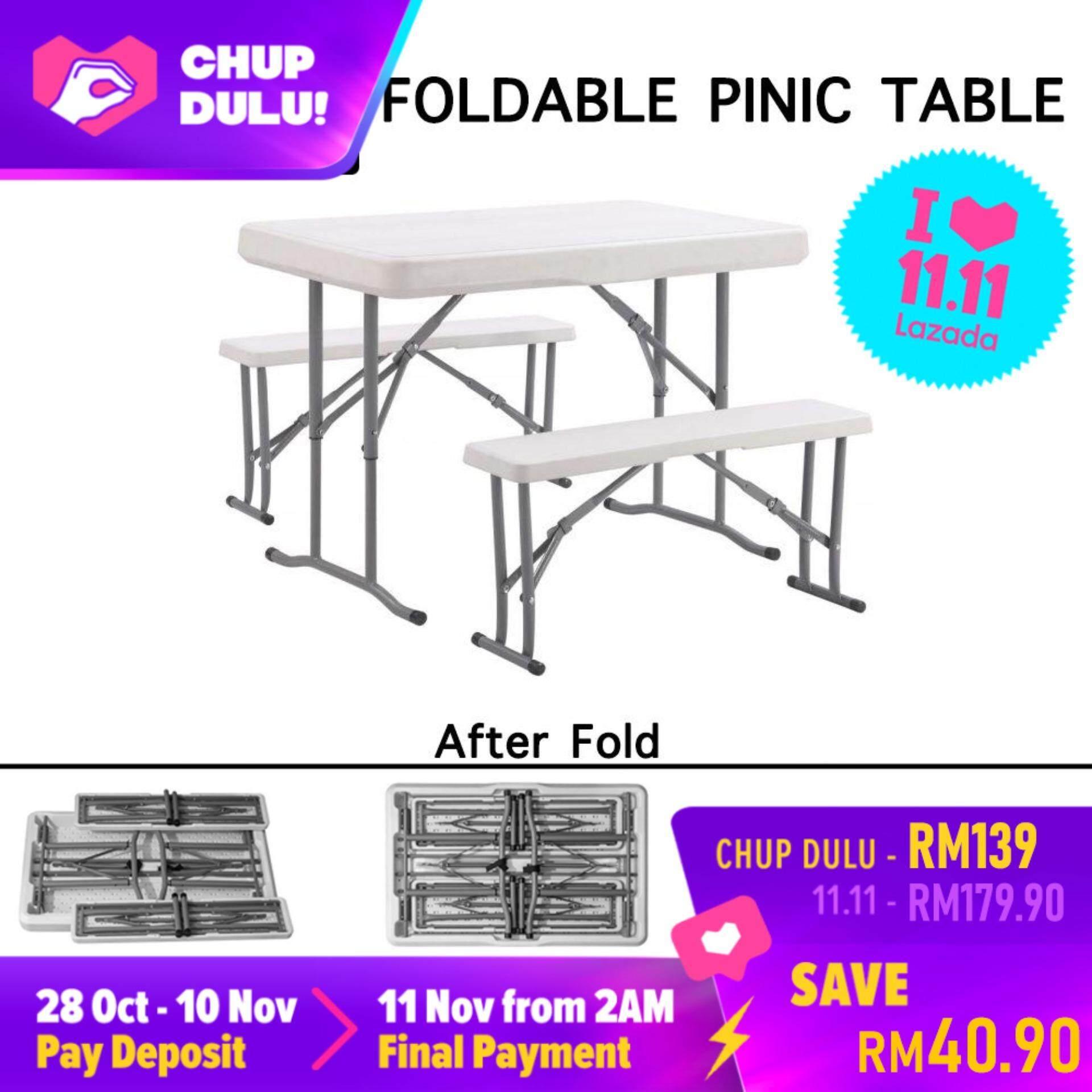 [11.11 CHUP DULU] SOKANO HQ-B105 Foldable Banquet Table with 2 Bench Catering Buffet Hall Folding Table Picnic Table Meja Lipat Banquet Niaga Dengan 2 Kerusi
