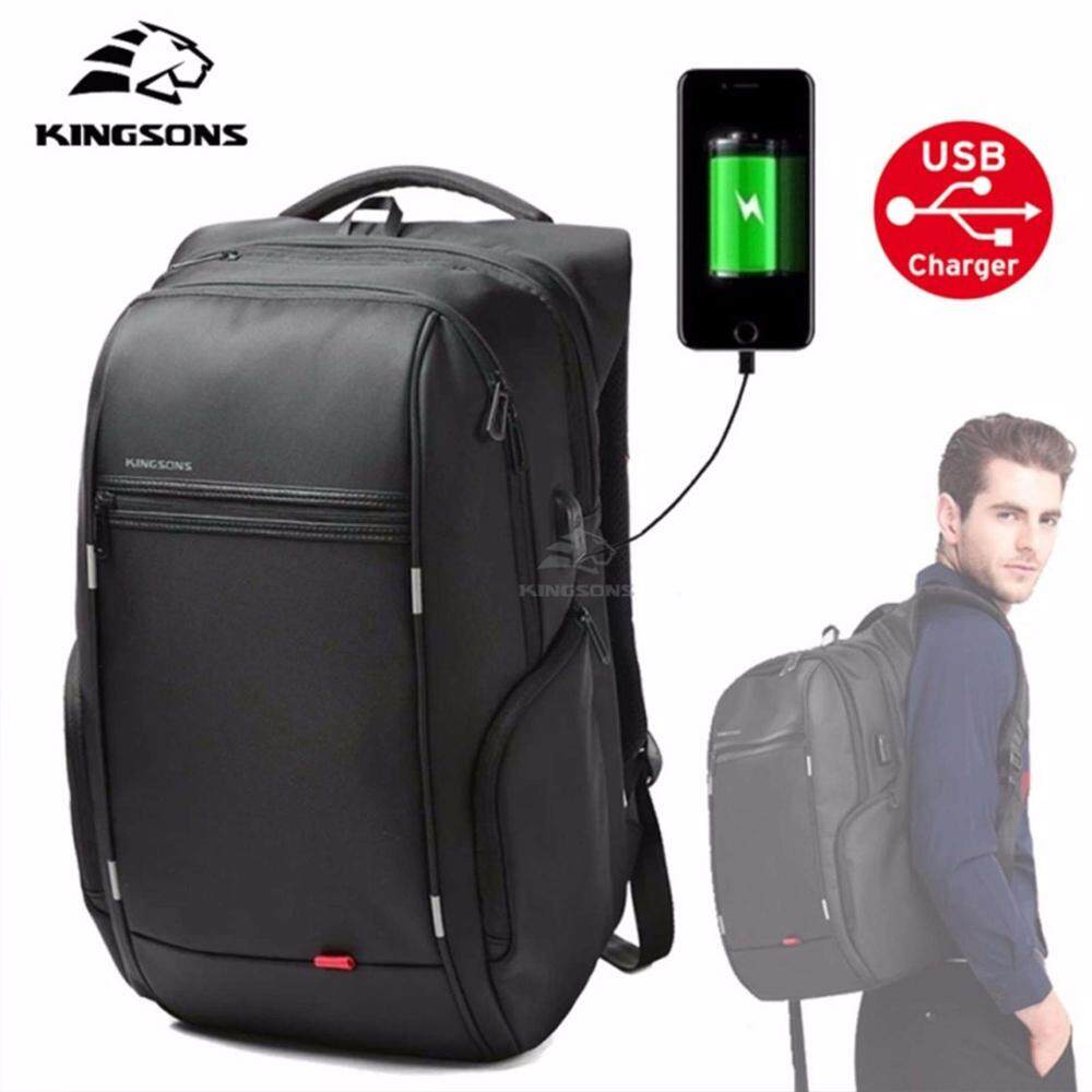 KINGSONS KS3140W 15.6 inches City Elite Bag Designer Laptop Backpack Water-Resistant Anti-Theft Laptop Rucksack with USB Charging Port - Black
