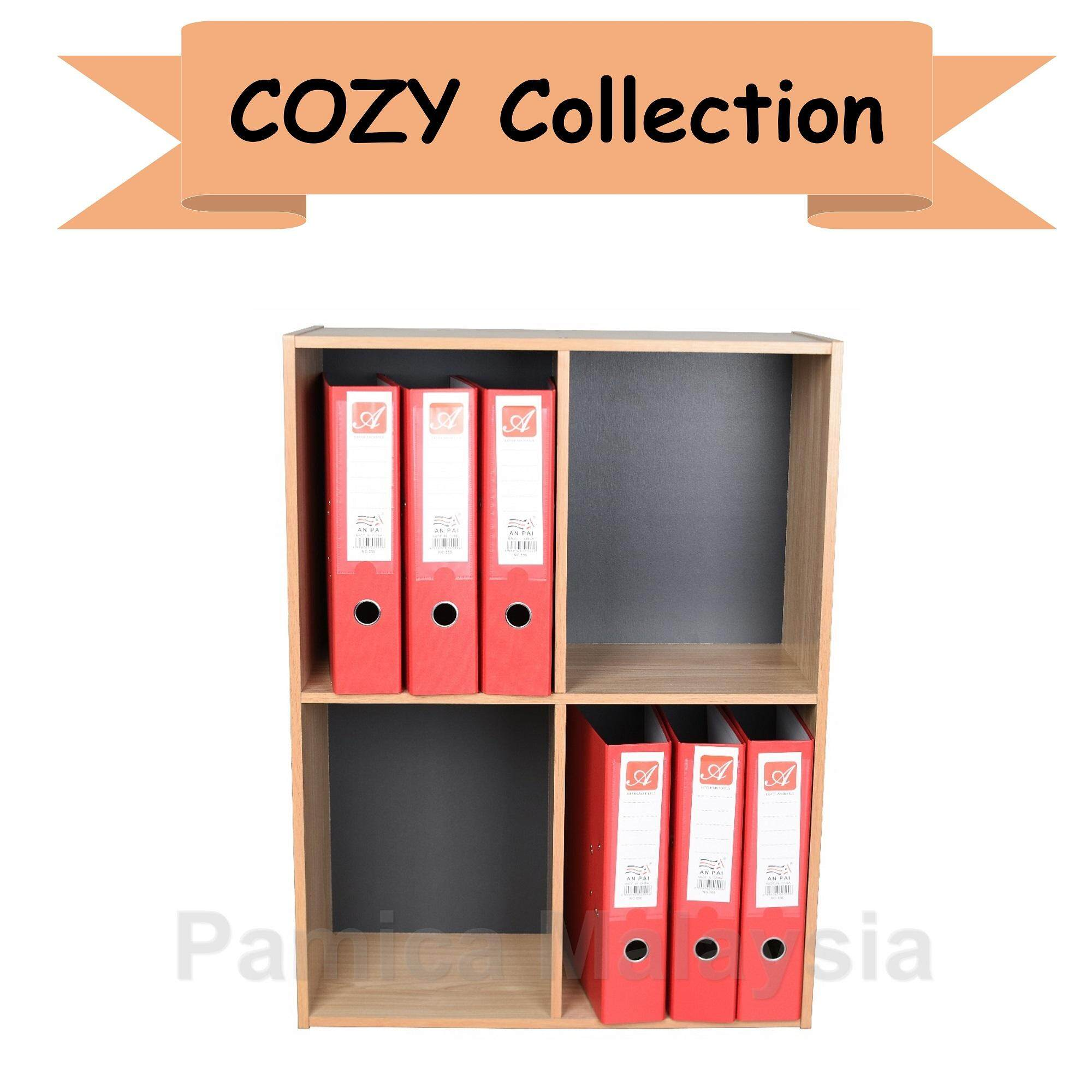 PAMICA SV6047 Cozy 4-Compartment Storage Shelf in Oak/Dark Grey Finished