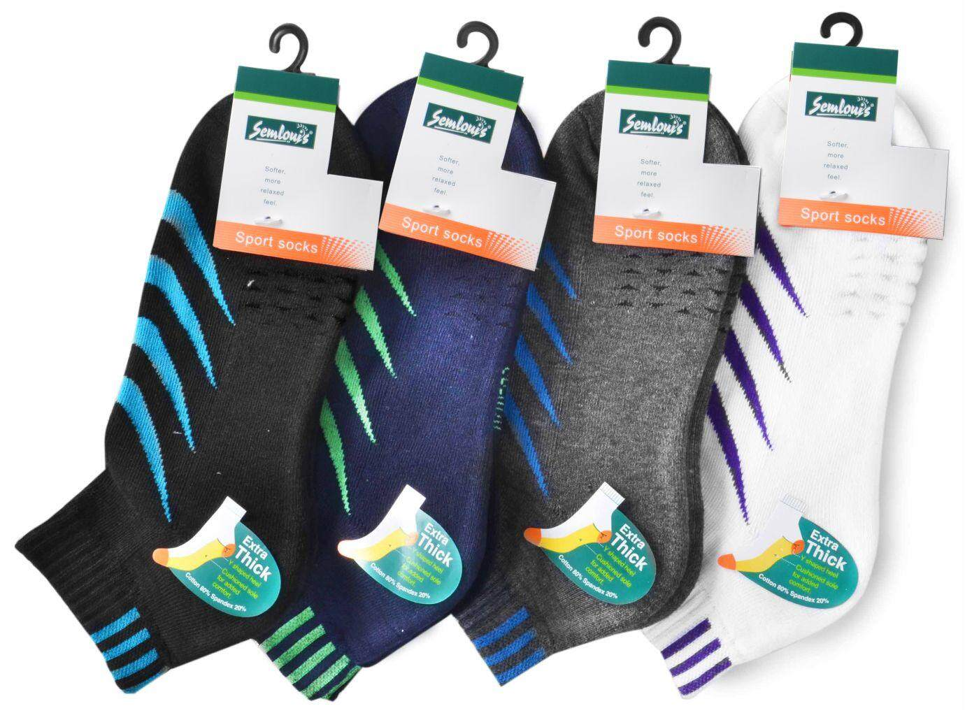 Semlouis Sport Ankle Cushion Base Socks - 4 Tilted Lines / PAIR