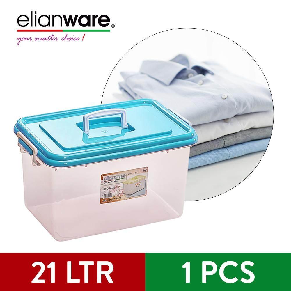 Elianware Multipurpose Transparent Storage Box Organizer with Handle Wardrobe Organizer (3 Pcs Set)