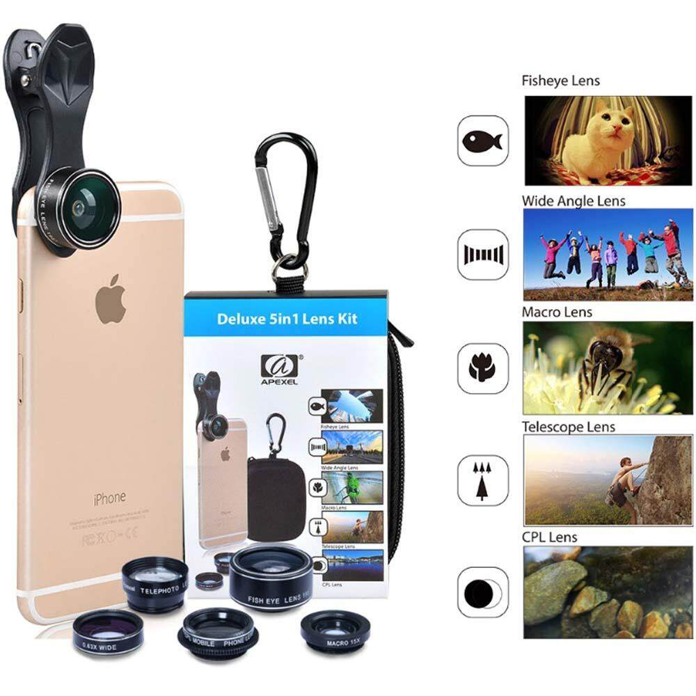 Apexel 5in1 camera Lens Kit for Hd Mobile Phone lens (APL-DG5H) for Apple Iphone Huawei P20 P30 Pro Vivo Oppo Samsung