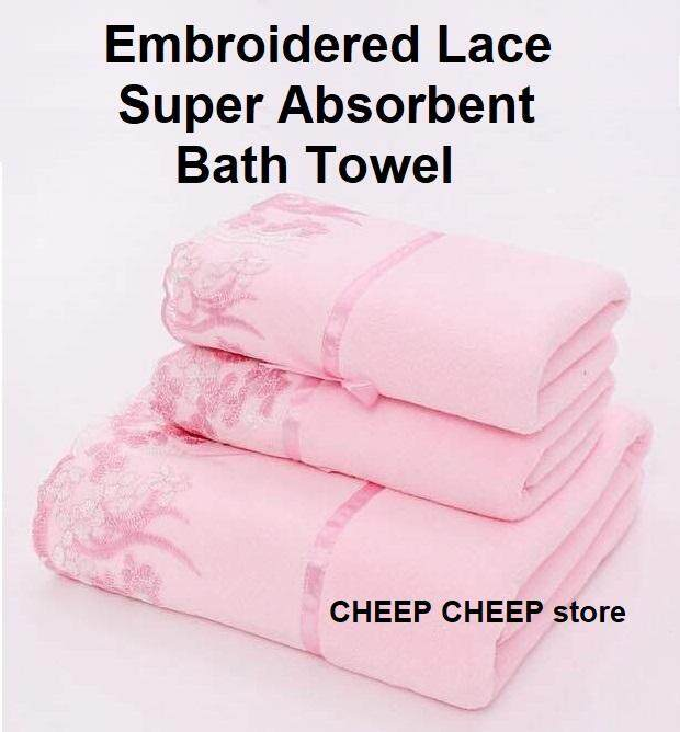 Premium Quality Bath Towel & Face Towel Luxury Embroidery Lace Towels Super High Water Absorbent Microfiber 70 x 140 cm & 35 x 75 cm - Bath Towel