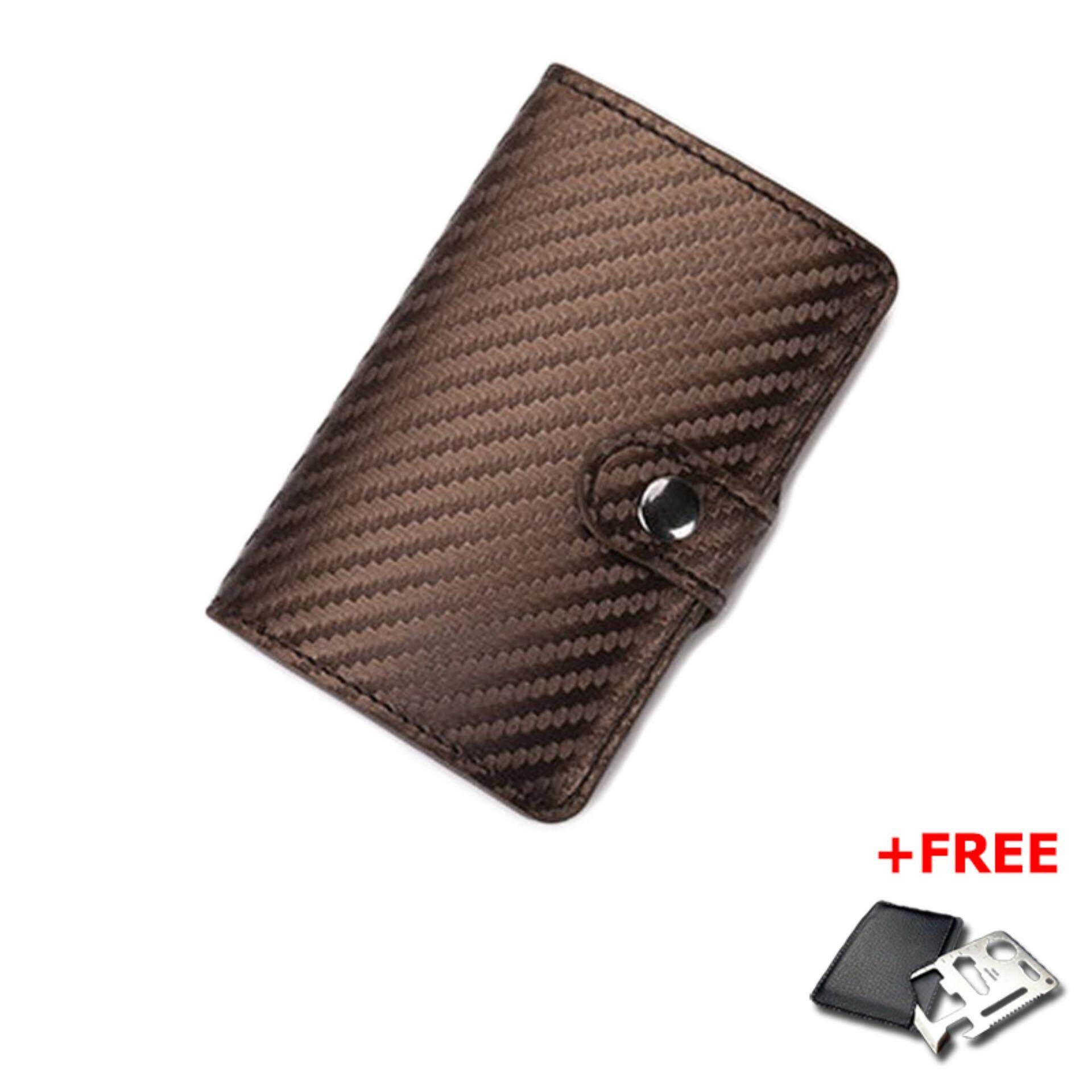 Slim Carbon Fiber Credit Card Holder RFID Non-scan Metal Simple Wallet Money Case Card Organizer MI3183