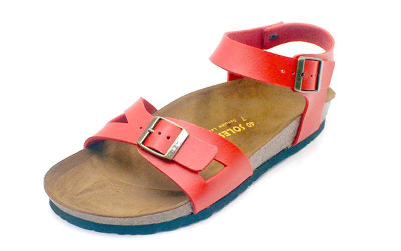 SoleSimple Naples - Red / Casual Soft Footbed Flat Slippers & Comfortable Shoes & Sandal Shoe