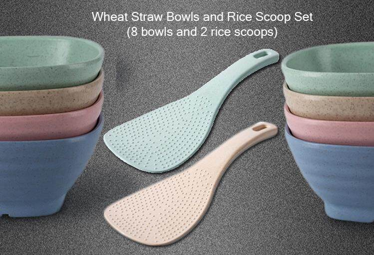 Wheat Straw Bowls and Rice Scoop set (8 bowls and 2 scoops)