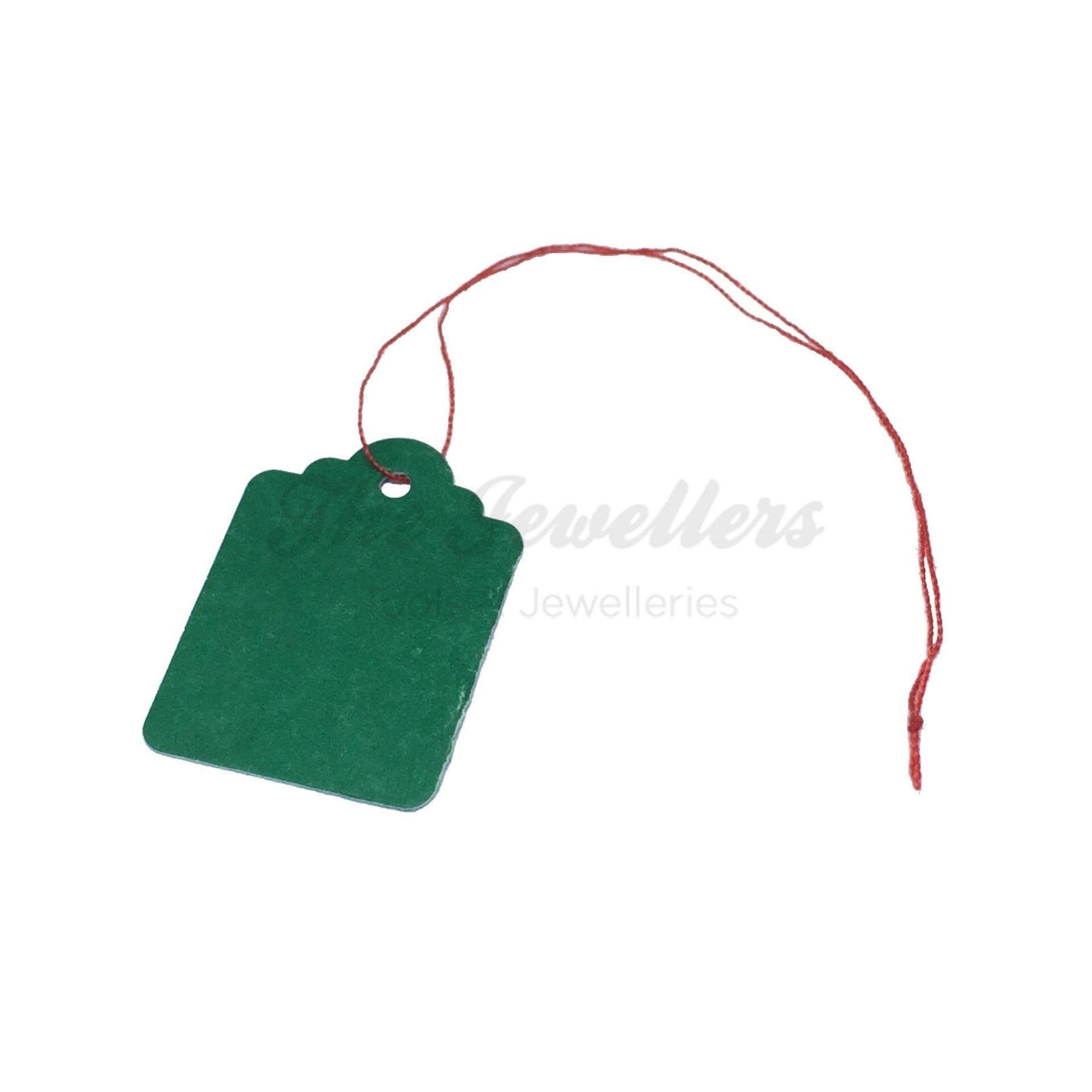 450+-pcs Rectangular Shape Green Colour Jewellery Price Tag with Thin Red Thread