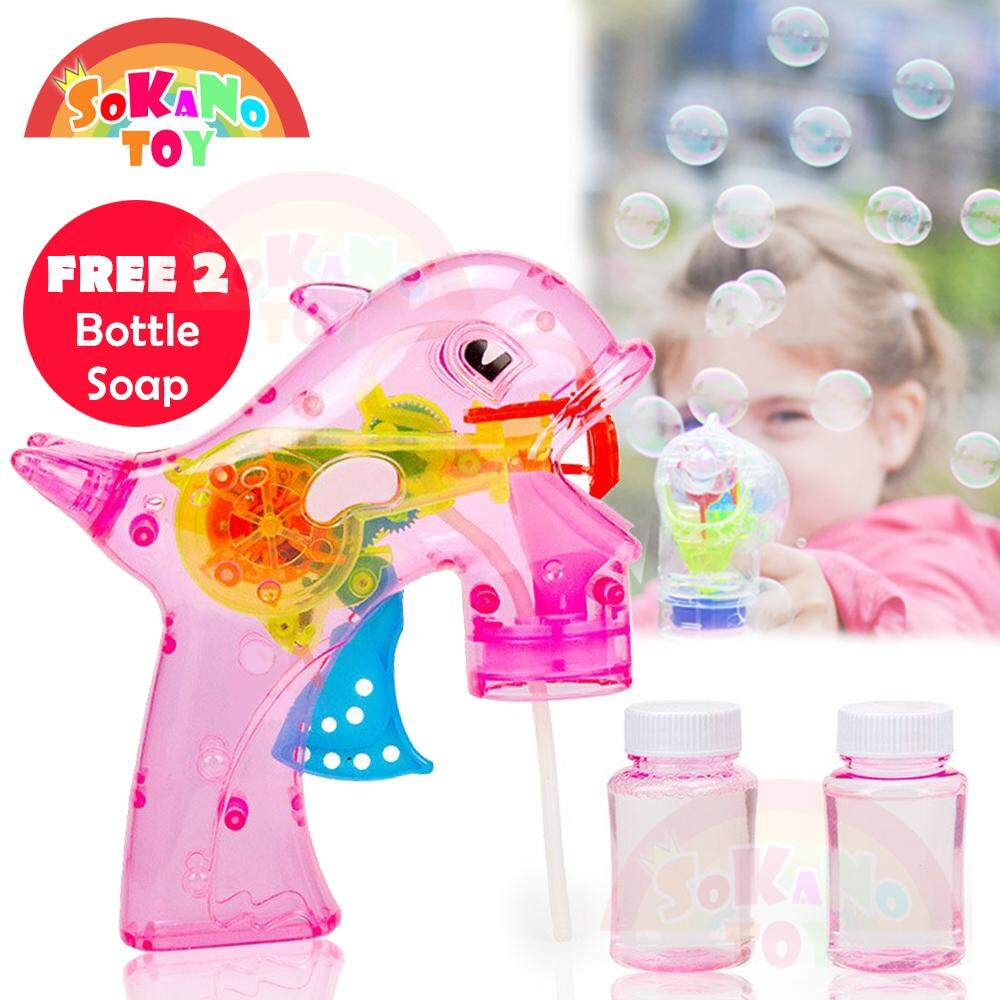 SOKANO Dolphin Design Automated Bubble Gun with LED Light and Music Toy for Her for Him Mainan (Free 2 Bottle Soap) Toys for boys