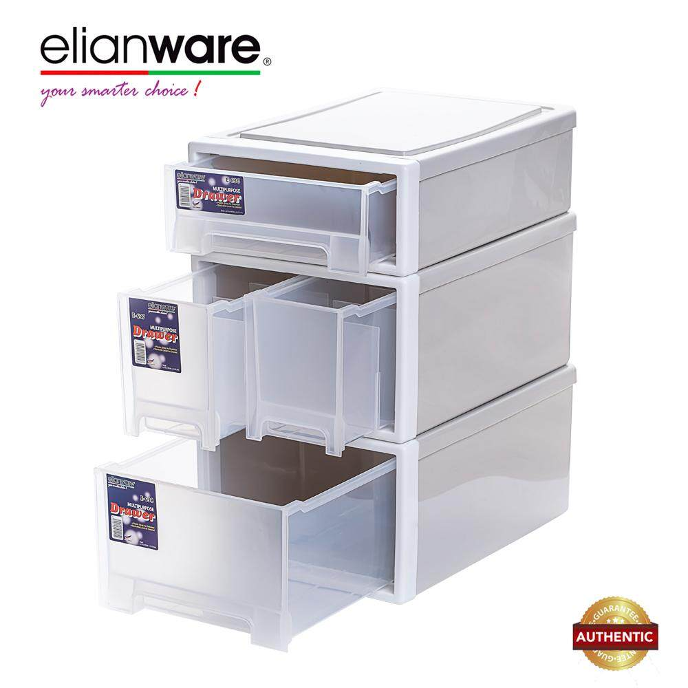 [TODAY'S SPECIAL!] 3 pcs Elianware Elegant Modern Office Drawer Stackable Storage Box Plastic Drawer Rack