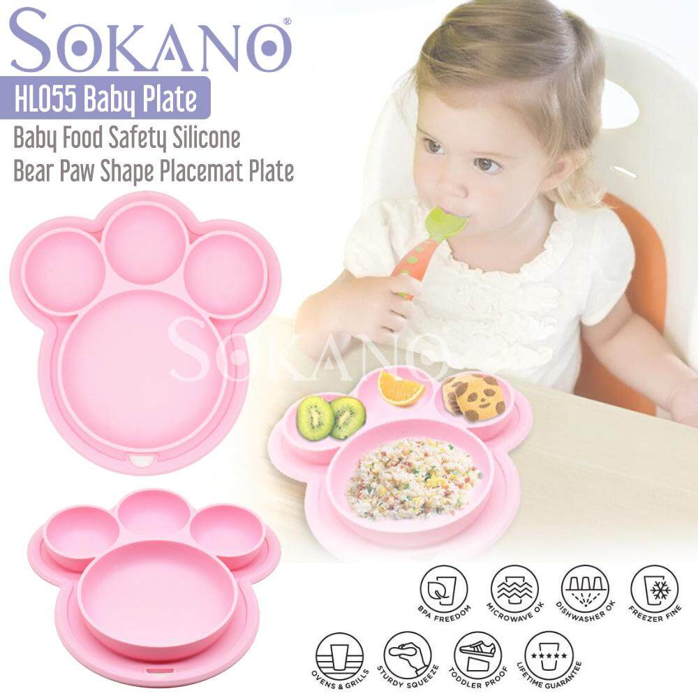 SOKANO HL055 Baby Food Safety Silicone Bear Paw Shape Placemat Plate Tray for Infants Toddlers and Kids Dining Dinnerware