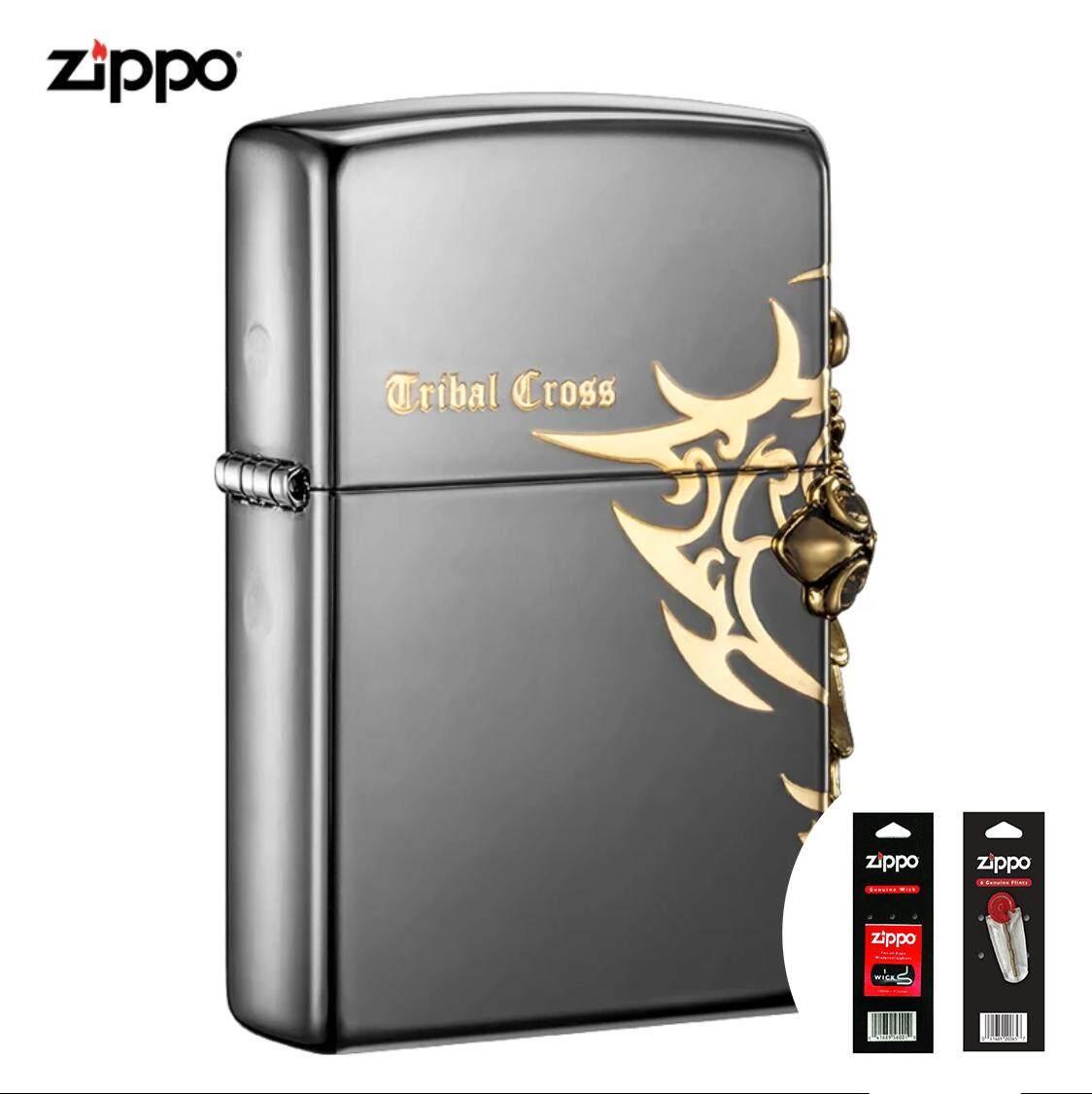 Korean Black Ice Tribal Cross Side Version Zippo Lighter - Free Zippo Flints & Wick