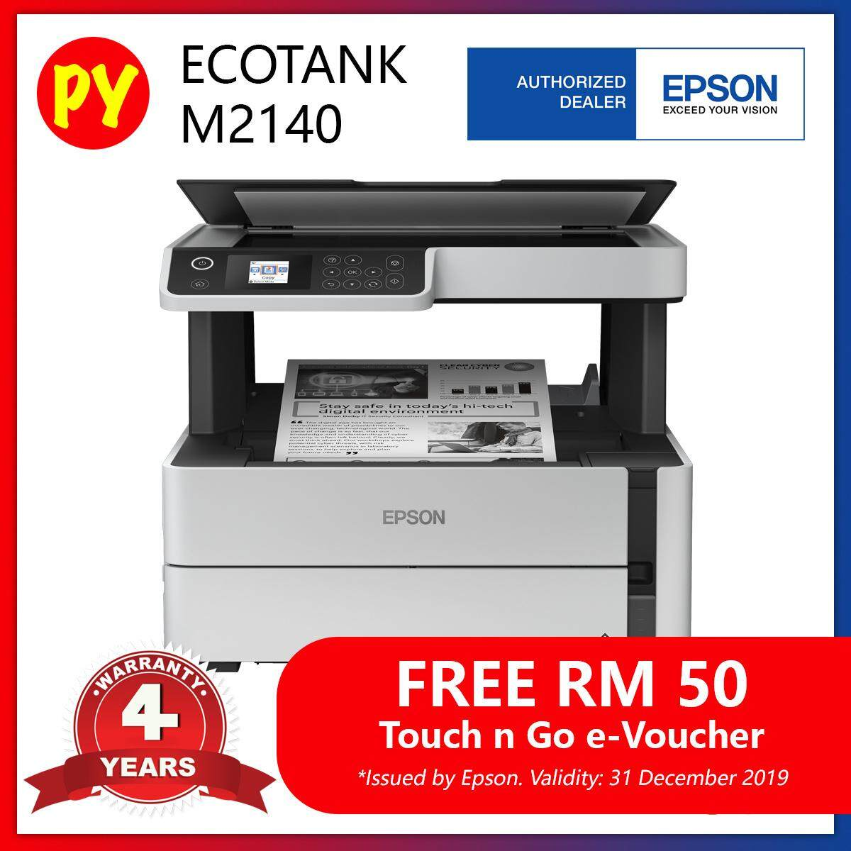 Epson EcoTank Monochrome M2140 All-in-One (Print, Scan. Copy, Duplex, Wifi) Ink Tank Printer - compatible ink Epson 005 + Free RM50 Touch 'n Go E-Voucher