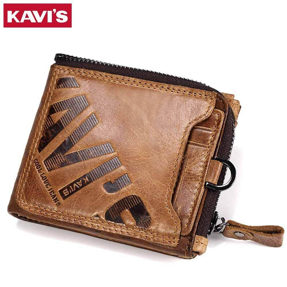 KAVIS Genuine Cowhide Leather Zipper Wallet Men Italy Coin Brown Purse RFID Blocking MI4231