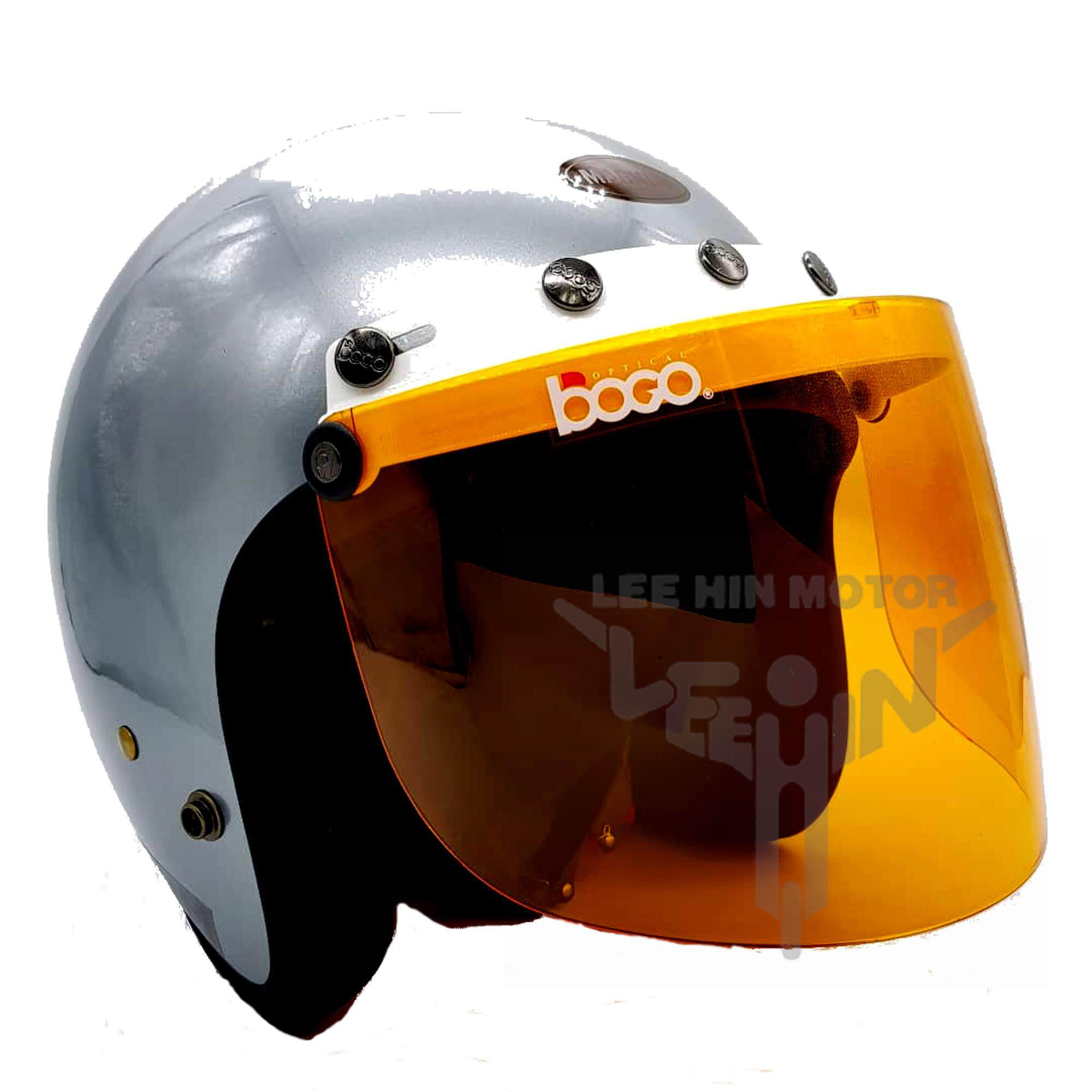 Original Magnum 5 Button White Cap Helmet with Orange Visor ( Grey )