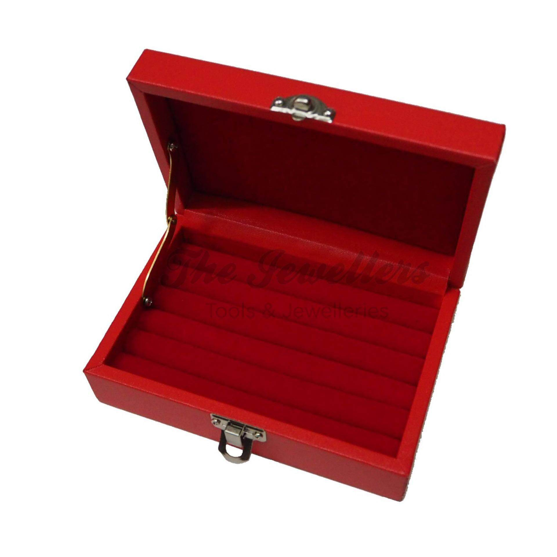 Red Leatherette Ring Box 15 x 10cm