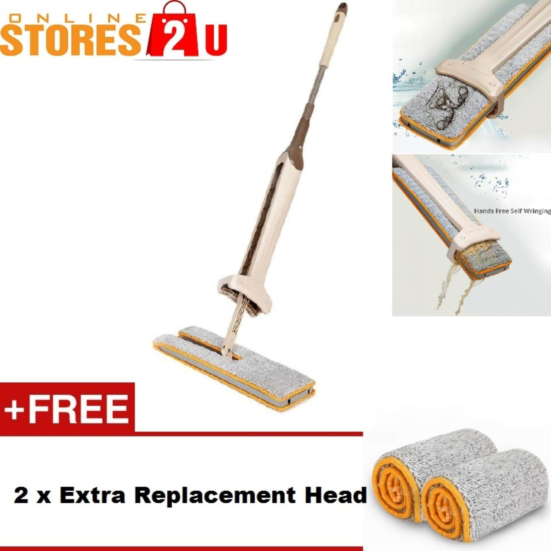[Stores2u] 38cm Double Sided Hands Free Wash Microfiber Lazy Flat Floor Spin Mop FREE 2pc Extra Absorption Cloth Head