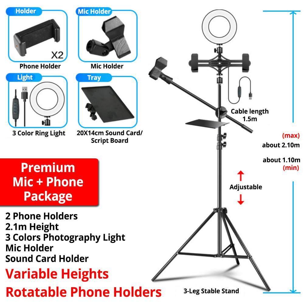 Professional 2.1m Mic Stand Video Light 3 Phone Holder Recording Microphone Sound Card Holder - Premium Mic + Phones