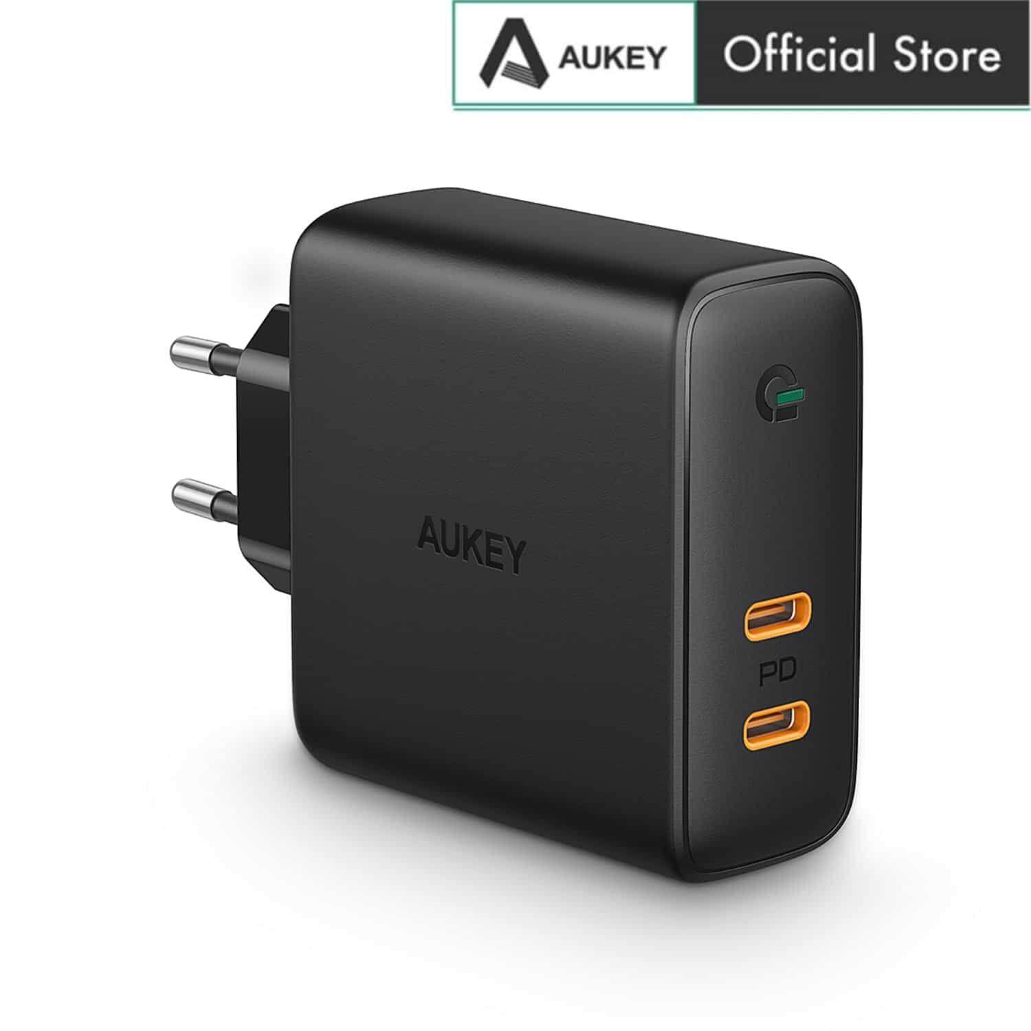 [12.12 Crazy Brand Mega Offers]Aukey PA-D5 60W USB C Power Delivery Charger with Dynamic Detect -EU Plug
