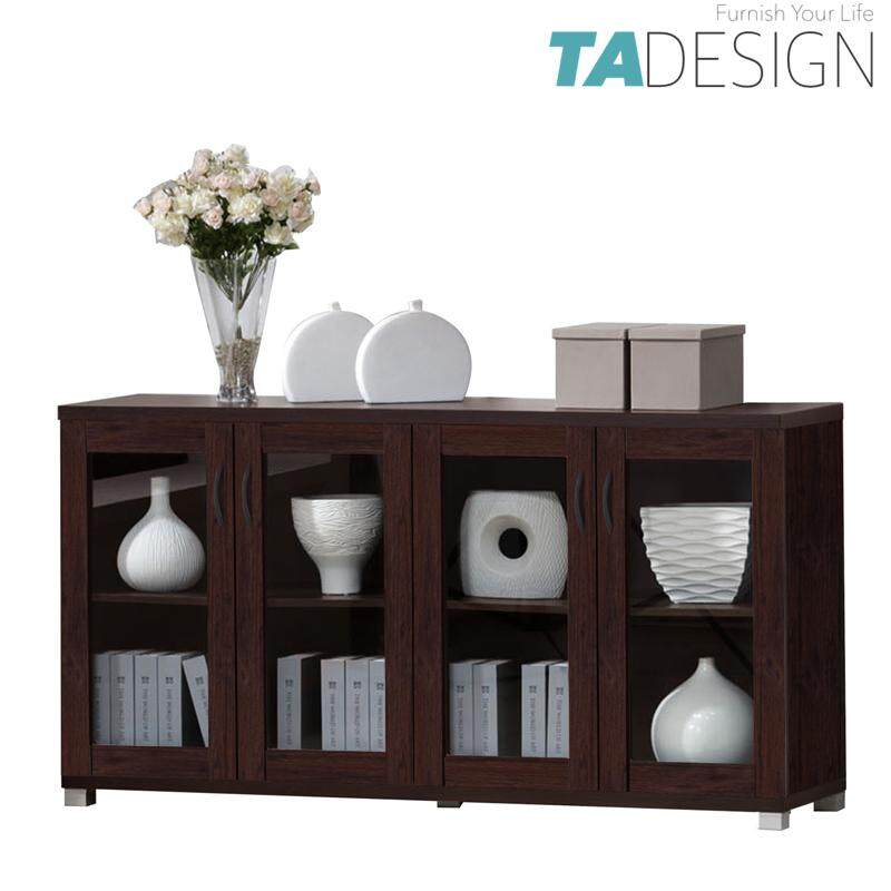 TAD HALLIE 2 door cabinet storage rack-Walnut