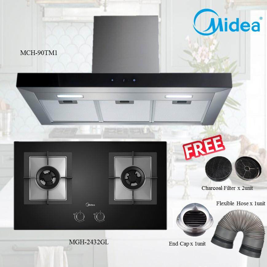 MIDEA MCH-90TM1 Cooker Hood with Charcoal Filter + MGH-2432GL 2 Burners Build-In Glass Hob