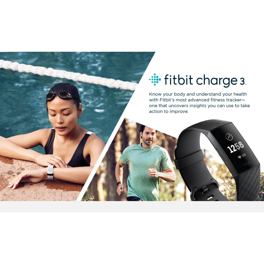 Fitbit Charge 3 Fitness Activity Tracker (S & L Bands Included)