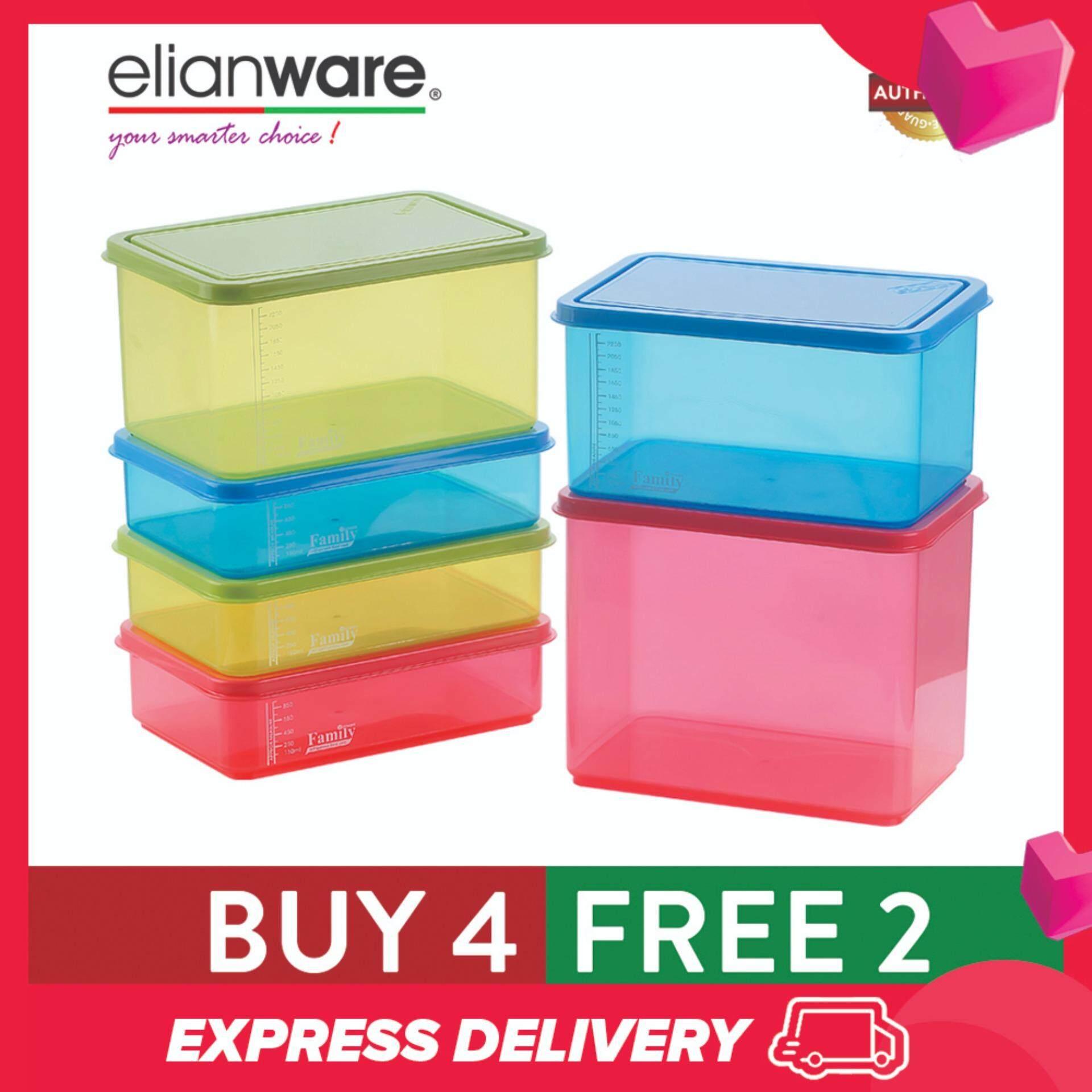 Elianware (BUY 4 FREE 2) BPA FREE Food Containers Family Set Bekas Kuih Raya