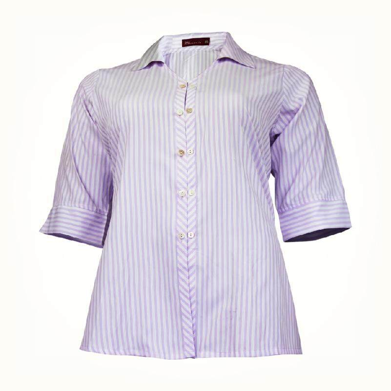 MAMAMIA PLUS SIZE 3/4 SLEEVE SHIRT STRIPE MMP9013 (PROMOTION PURPLE)