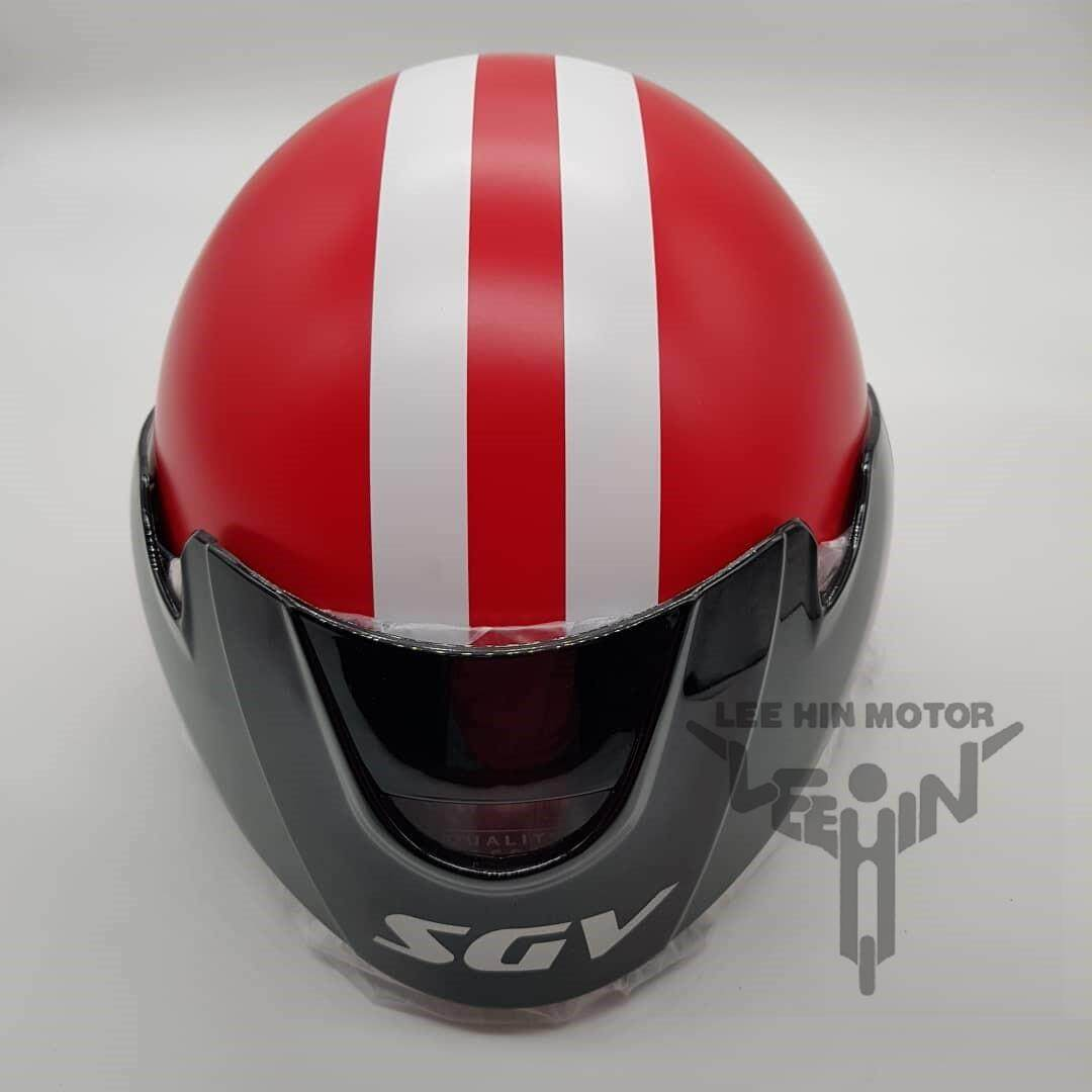 Original SGV Stripes Cruiser Matt Colour Helmet (Matt Red), Tinted